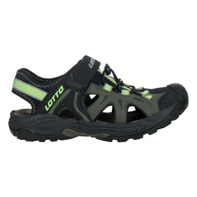 LOTTO 男冒險家護趾排水涼鞋-休閒 魔鬼氈 健走鞋 水陸鞋 反光 LT1AMS3235 黑綠