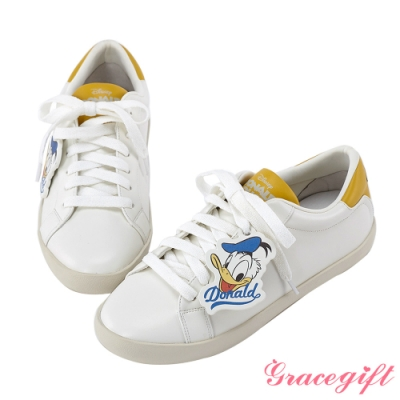 Disney collection by gracegift唐老鴨復古掛飾休閒鞋 黃
