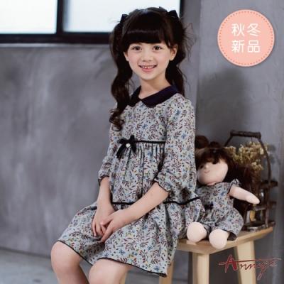 Annys安妮公主-清新花卉秋冬款荷葉袖蛋糕洋裝*9250灰色