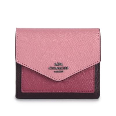 COACH 馬車金屬LOGO撞色素面防刮皮革三折信封短夾-粉紅/紫紅