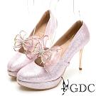 GDC-氣質華麗蝴蝶水鑽高跟新娘包鞋-粉色