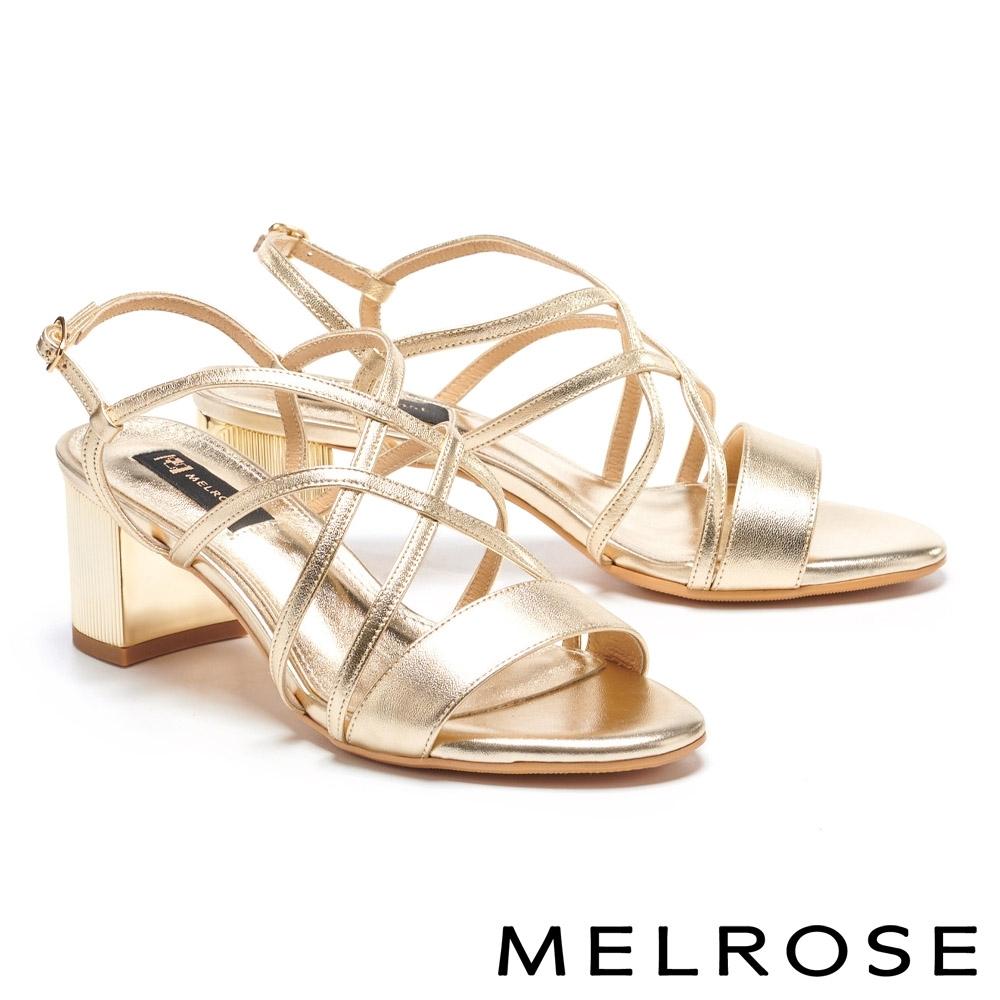 涼鞋 MELROSE 氣質優雅一字交叉細帶方頭高跟涼鞋-金