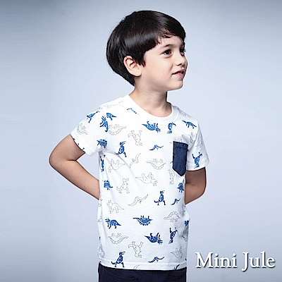 Mini Jule 童裝 上衣 藍恐龍單配色口袋短袖上衣(白)