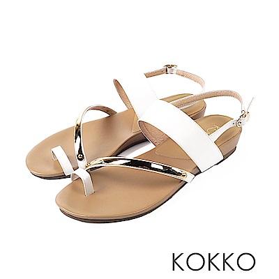 KOKKO - 極度舒適女孩指環扣牛皮平底涼拖鞋-皇室白