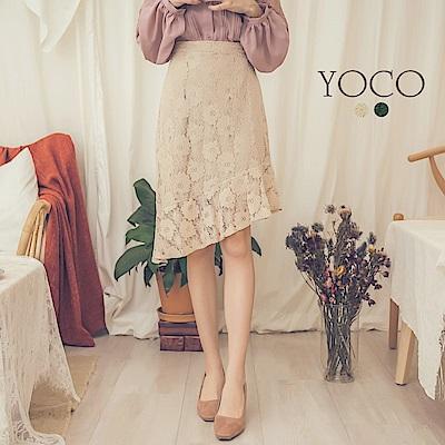 東京著衣-yoco 優雅韓風蕾絲荷葉短裙-S.M.L(共二色)