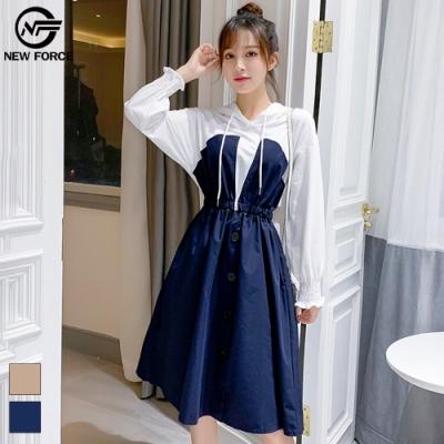 NEW FORCE 時尚假兩件公主風洋裝-深藍