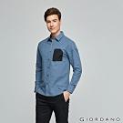 GIORDANO 男裝拉鍊單口袋磨毛長袖襯衫-01 中校海軍藍