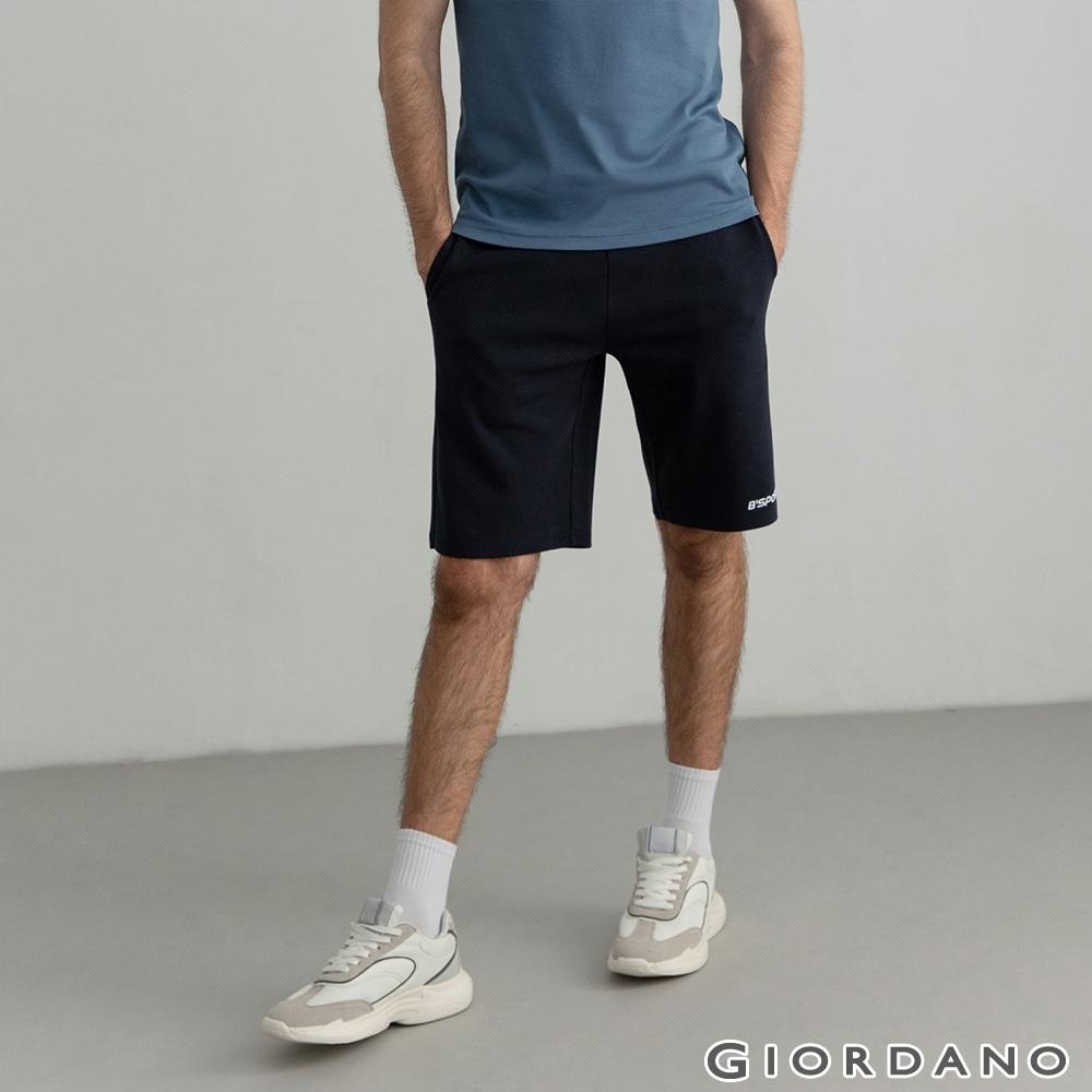 GIORDANO 男裝素色針織短褲 - 76 標誌海軍藍