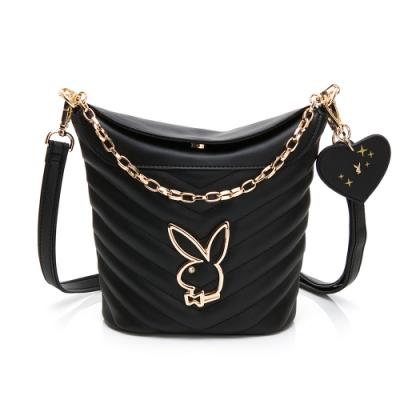 PLAYBOY-  水桶包附長短背帶 摩登小兔系列 -黑色
