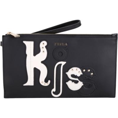 FURLA Eden XL KISS 皮革補丁貼牛皮手拿包(黑色)