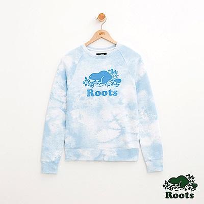 女裝Roots 雲朵AOP圓領上衣-藍