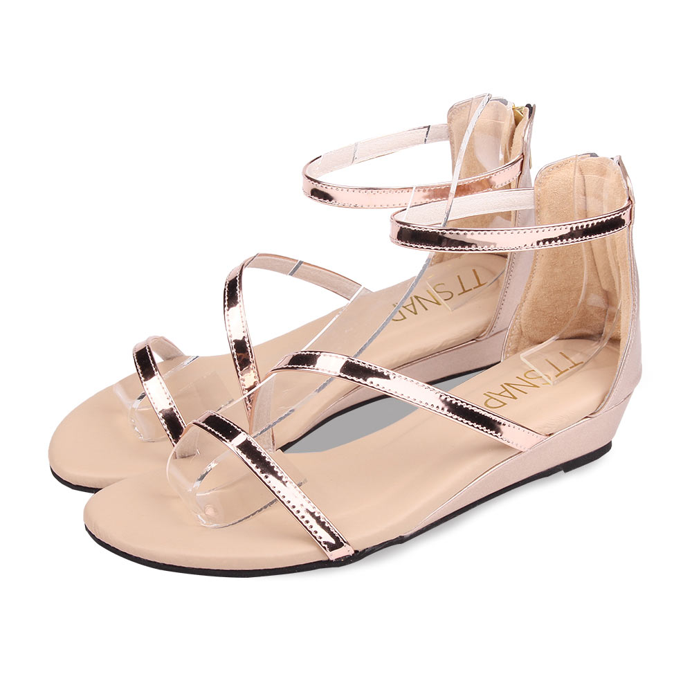 TTSNAP涼鞋-波浪緞帶簡約低跟楔型涼鞋 玫瑰金