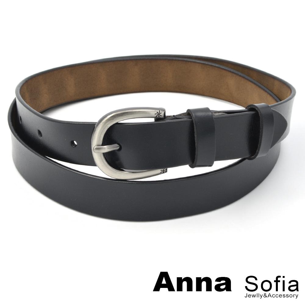 AnnaSofia 橢釦花火雙紋素面 二層牛皮真皮腰帶(黑系)