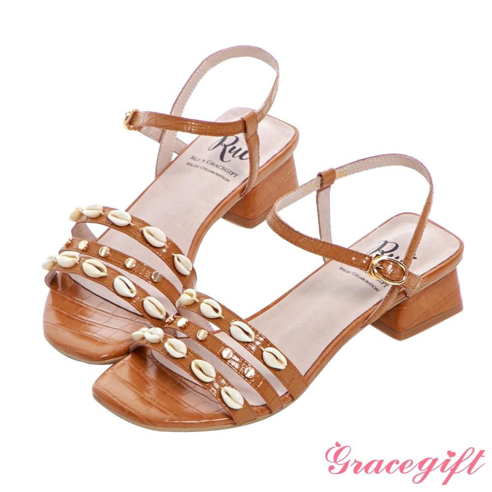 Grace gift X Rui-聯名全真皮貝殼細帶中跟涼鞋 棕