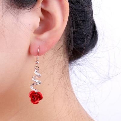 HERA 赫拉 時尚玫瑰花耳墜螺旋流蘇長款耳環
