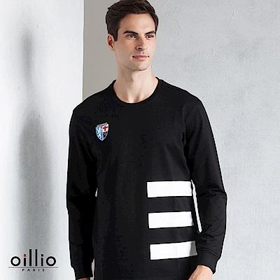 歐洲貴族 oillio 長袖T恤 三橫條款式 品牌繡標 黑色