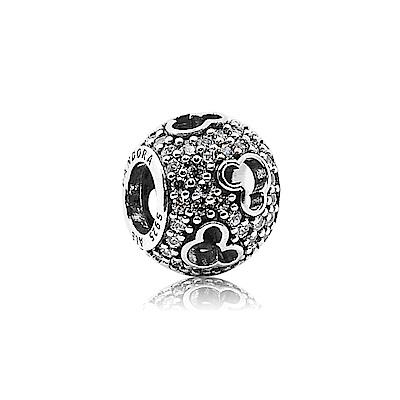 Pandora 潘朵拉 圓形白鑽鏤空米奇 純銀墜飾 串珠