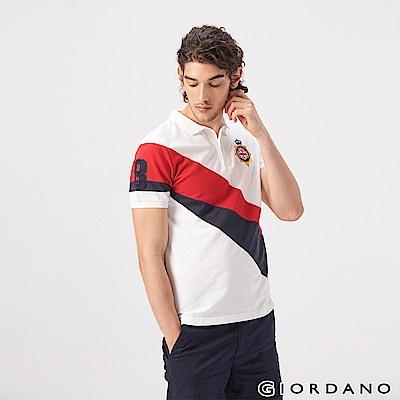 GIORDANO 男裝UNION JACK系列短袖POLO衫-37 白/紅/藍
