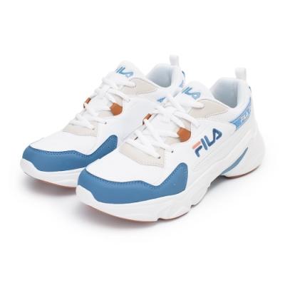 【FILA】HIDDEN TAPE 2 復古慢跑鞋 女鞋-粉藍/白(5-J329V-133)