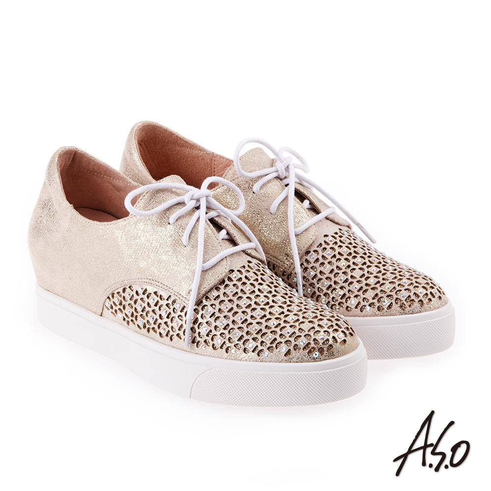 A.S.O 炫麗魅惑 水鑽舒適綁帶內增高休閒鞋 金
