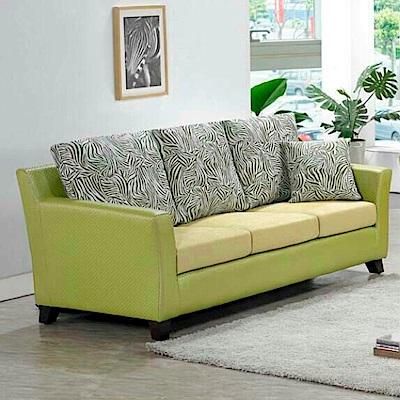 AS-柏特萊姆編織綠皮三人座沙發210x85x85cm