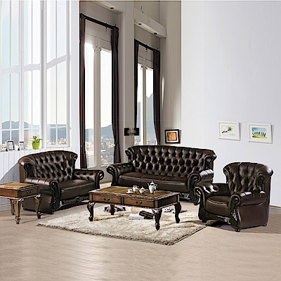 AS-雷爾夫咖啡色1+2+3皮沙發