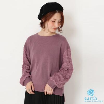 earth music  蕾絲袖拼接設計落肩針織衫