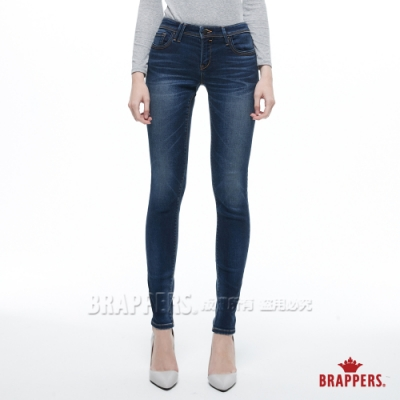 BRAPPERS 女款 新美腳ROYAL系列-中高腰彈性牛角刺繡窄管褲-藍