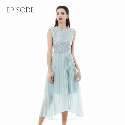 EPISODE - 薄荷綠蕾絲拼接百褶紗裙雪紡洋裝
