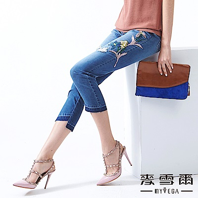 【麥雪爾】棉質刷破刺繡珍珠牛仔褲