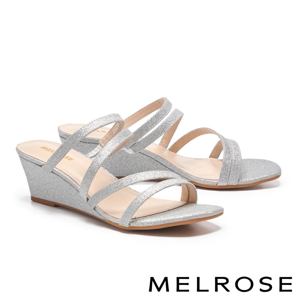 拖鞋 MELROSE 別致時尚金蔥繫帶楔型高跟拖鞋-銀