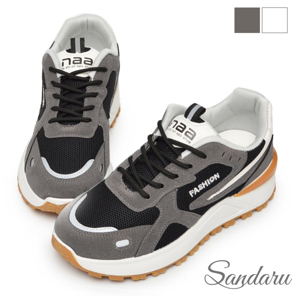 山打努SANDARU-復古鞋 韓國潮流雙材質拼接休閒鞋-灰 (灰)