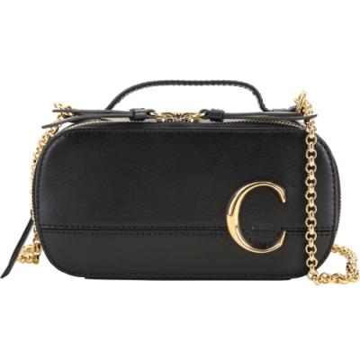 CHLOE C Vanity 迷你款 小牛皮鍊帶手提斜背包(黑色)