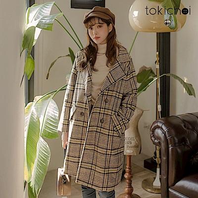 東京著衣 韓國小姊姊格紋毛呢大衣外套(共一色)