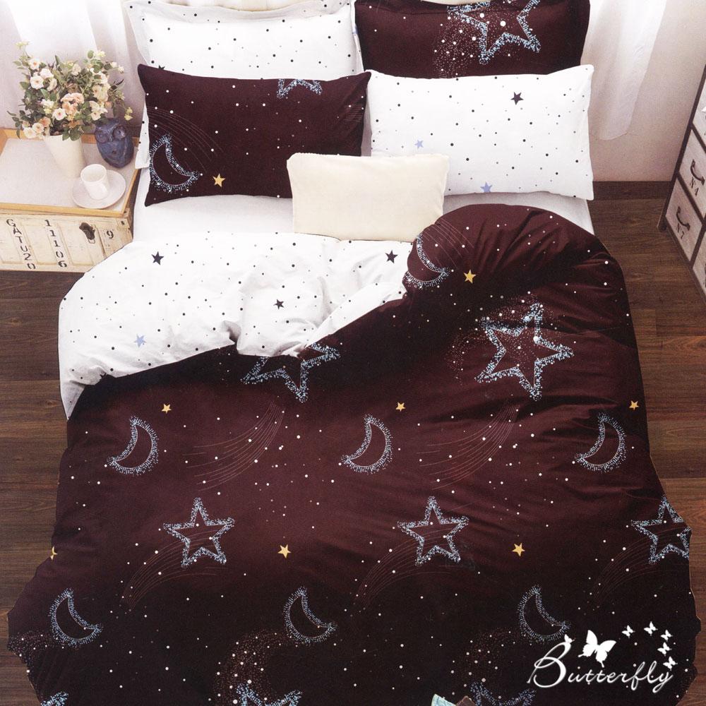 BUTTERFLY-台製柔絲絨加大雙人薄式床包枕套三件式-星月神話-紅