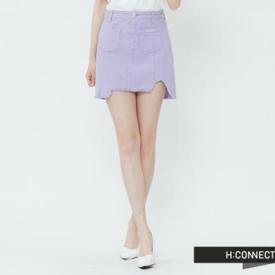 H:CONNECT 韓國品牌 女裝-雙口袋不收邊短裙-紫