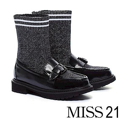 厚底鞋 MISS 21 懷舊英倫造型拼接襪套式厚底鞋-黑
