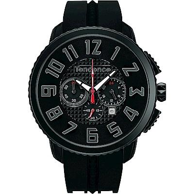Tendence 天勢 Gulliver 立體休閒計時手錶-IP黑/47mm
