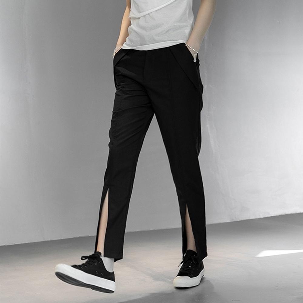 設計所在Style-褲腳開叉修身韓版小西褲九分褲