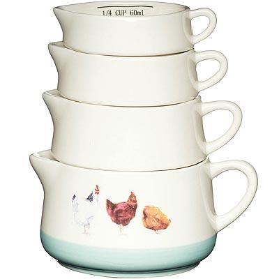 《KitchenCraft》Farm陶製調理碗4件(雞)