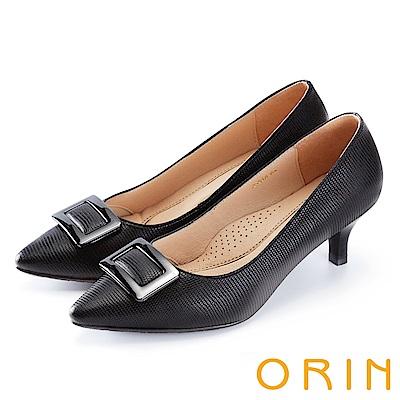 ORIN 典雅氣質 方型金屬釦環牛皮高跟鞋-黑色