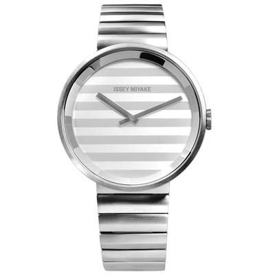 ISSEY MIYAKE 三宅一生 PLEASE 時裝百摺防水不鏽鋼手錶-銀色/40mm