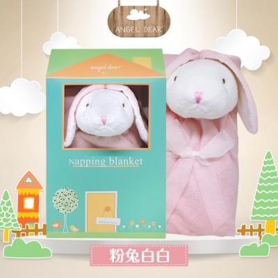 美國 Angel Dear 大頭動物嬰兒毛毯禮盒版 (粉紅小兔-白白)