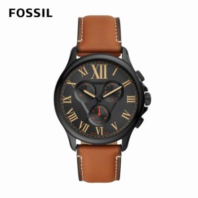 FOSSIL Monty 羅馬數字酷黑三眼男錶 棕色真皮皮革錶帶 44MM FS5639
