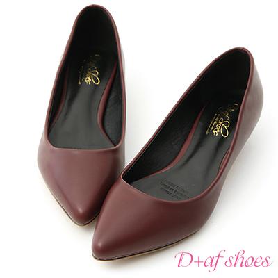 D+AF 俐落優雅.簡約素面尖頭低跟鞋*酒紅