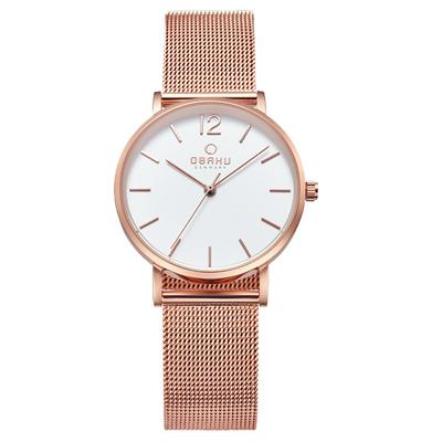 OBAKU 摩登驚豔鋼質女錶-白x玫瑰金/32mm