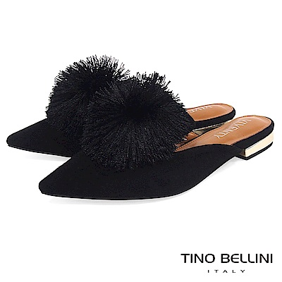 Tino Bellini宮廷風尚蓬蓬線球穆勒鞋_黑