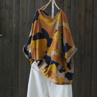不規則卷邊蝙蝠袖竹節棉半袖迷彩t恤印花上衣-設計所在