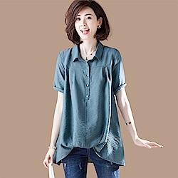 初色  簡約寬鬆純色反摺襯衫-藍色-(M-2XL可選)