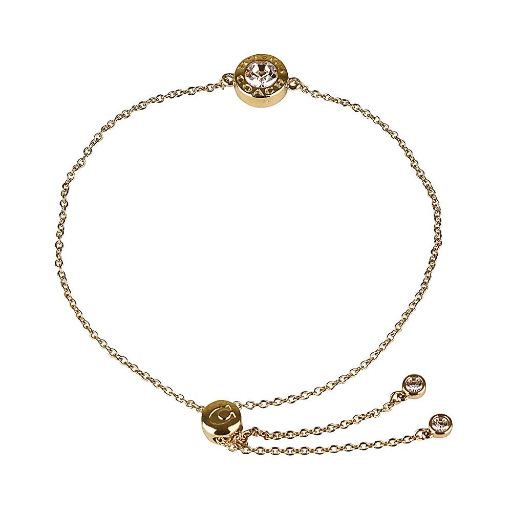 COACH壓印LOGO立體圓形設計鑽鑲飾手鍊(金)